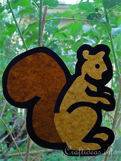 Fall Craft for Kids - Paper Squirrel Window Decoration