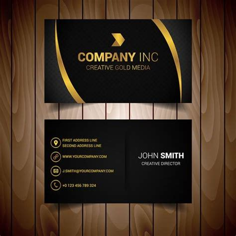 Black And Gold Lined Elegant Business Card - Download Free