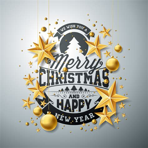 Vector Christmas and New Year illustration with typography