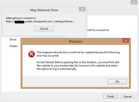 """Office 365 SharePoint """"Access Denied"""" Error When Mapping"""