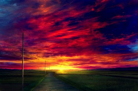Wallpaper Anime Landscape, Sunset, Red Sky, Realistic