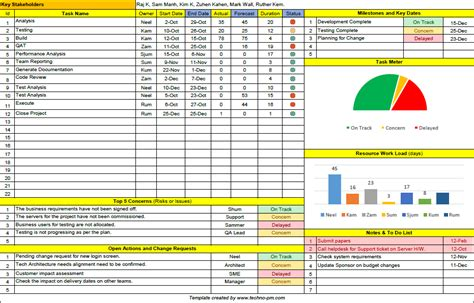 Project Tracking Template Excel Free Download – task list